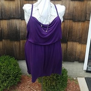 Cowl neck spaghetti strap dress